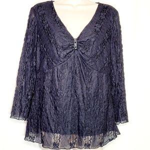 b.i.y.a.y.c.d.a. | Lace Top w/Sequin Detail Size L